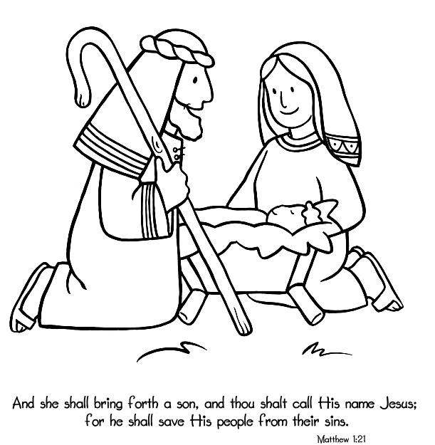 Birth of Jesus - Coloring Page